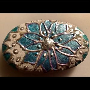 Beautiful hand painted rock with floral design